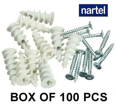 £2.39 • Buy Plasterboard Nylon Fixings Self Drill Cavity Wall Speed Anchor Plugs And Screws