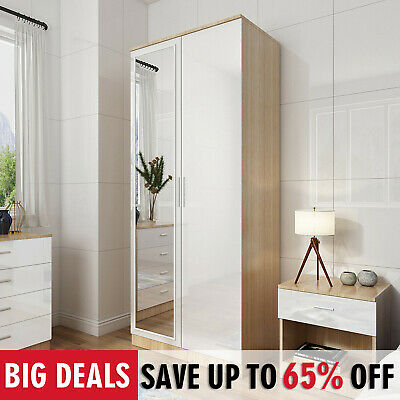£147.99 • Buy 2 Door Wardrobe With Mirror High Gloss Large Storage 4 Colors Cupboard Furniture