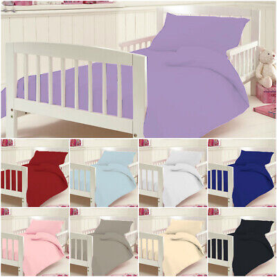 £12.95 • Buy 100% Egyptian Cotton Plain Baby Cot Bed Duvet Quilt Cover Fitted Sheet Toddler