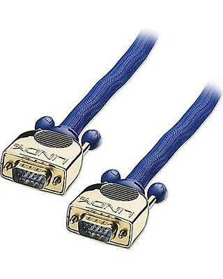 LINDY Blue Cable VGA GOLD Plated Terminal Male To Male  37824 HD15M/M 15m  • 65£