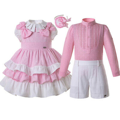 Spanish Kids Girls Dress Boys Outfits Sets Matching Clothes Formal Party Summer • 23.64£