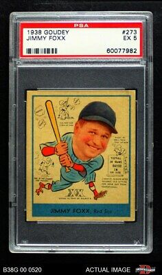 $1030 • Buy 1938 Goudey Heads Up Jimmie Foxx #249 / #273 Red Sox PSA 5 - EX