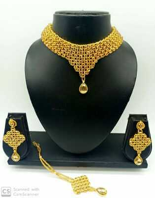 Indian Bollywood Jewelry Rose Gold Ethnic Fashion Plated Bridal Necklace Set • 16.99$