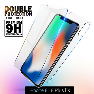 AU9.95 • Buy Front Back 9H Tempered Glass Screen Protector Guard Film For IPhone X S 8 Plus