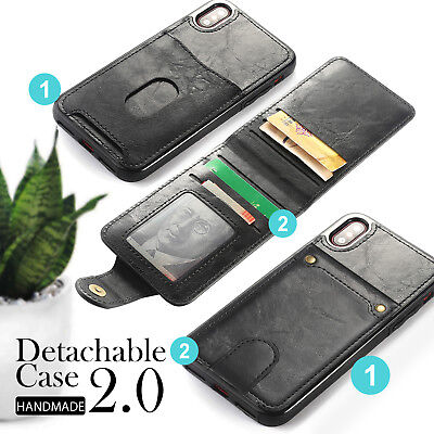 AU14.95 • Buy Leather Card Holder Cover Wallet Case For IPhone 8 7 6Plus X XS MAX Detachable