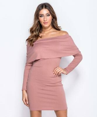 UK Women Off The Shoulder Frill Bodycon Party Ladies Short Ribbed Jumper Dress • 9.99£