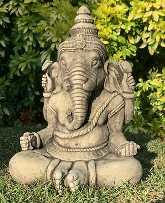 Stone Garden Large Ganesh Buddha Elephant Praying Statue Ornament • 37.95£