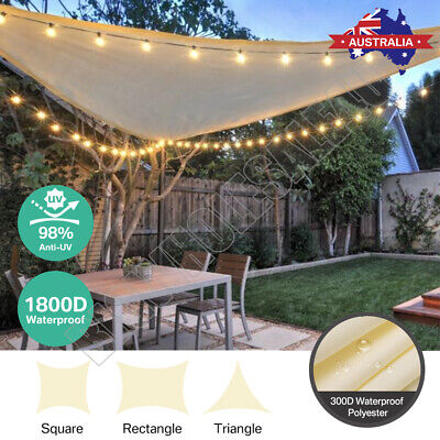 AU48.85 • Buy Extra Heavy Duty Sun Shade Sail Shade Cloth Triangle Square Rectangle 98% UV Blo