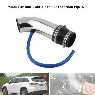 75mm Car Auto Blue Cold Air Intake Induction Pipe Kit Filter Tube System Parts • 29.23$