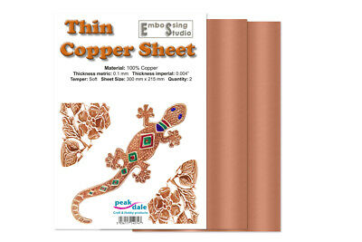 £7.99 • Buy Peak Dale Copper Foil Pack Thin 0.1mm 2 Sheets  300mm X 215mm (Approx A4)
