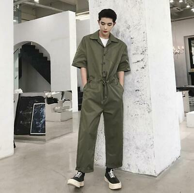 $33.59 • Buy Mens Youth New Fashion Short Sleeves Drawstring Waist Jumpsuit Overall Pants 012