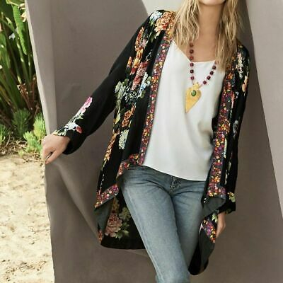 $219.99 • Buy Nwt Johnny Was Jazzy Kimono Jacket Embroidered Trim Rayon Black M L Xl Xxl