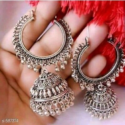 AU16.51 • Buy India Earrings Jhumki Traditional Silver Oxidized Bollywood Jhumka Women Jewelry