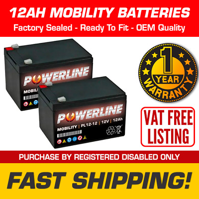 £34.19 • Buy Pair Of 12Ah Replacement Mobility Scooter Wheelchair Batteries - 12V 12 Amp
