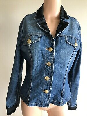 Ambiente Ladies Blue Denim Jacket UK 12 With Black Lace Cuffs And Collar • 6.95£
