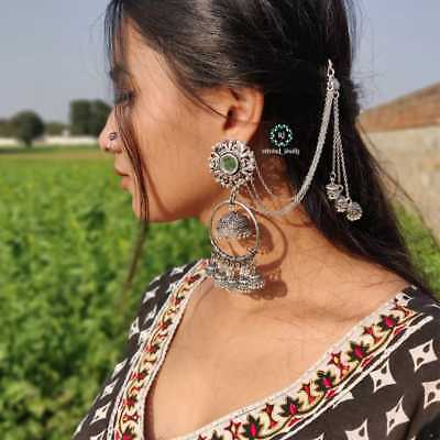 AU16.69 • Buy Indian Traditional Bollywood Silver Oxidized Long Jhumka Jhumki Earrings