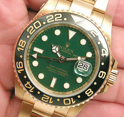 $ CDN49454.20 • Buy Rolex GMT Master II 116718 Yellow Gold Green Dial Black 24Hr Ceramic Bezel 40mm