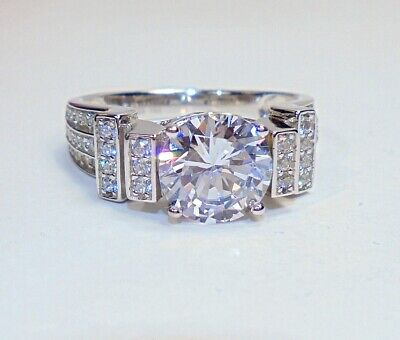 4a4480d0c Bella Luce Sterling Silver 2ct Round Cut Solitaire & Pave CZ Ring SZ 9 •  20.00