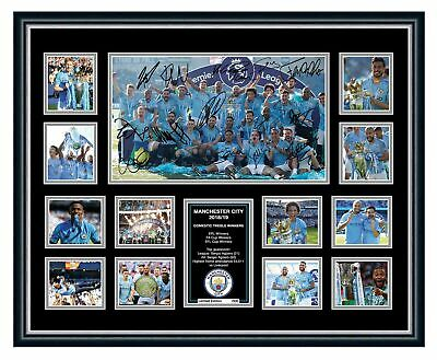 AU99.99 • Buy Manchester City Fc 2019 Treble Winners Signed Limited Edition Framed Memorabilia