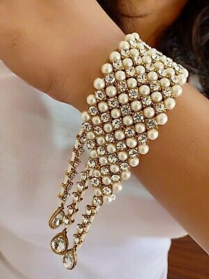 $17.77 • Buy Indian Gold Tone Wedding Bracelet Bridal Costume Pearl Fashion Jewelry Necklace