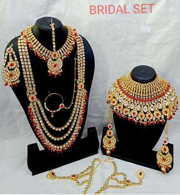 $59.99 • Buy Indian New Gold Kundan Bridal Fashion Ethnic Wedding Jewelry 9 Pcs Combo Set