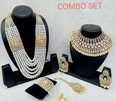 $31.19 • Buy Indian Kundan Pearl Gold Fashion Jewelry Bridal Choker Necklace Set Combo
