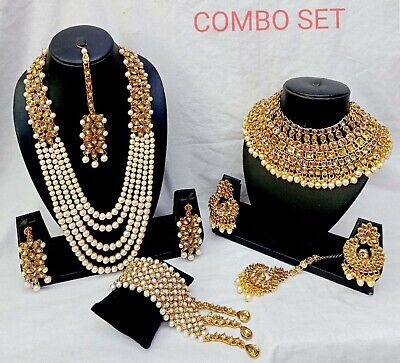 $31.19 • Buy Indian Bridal Gold Tone Pearl Chain Necklace Gold Plated Bollywood Jewelry Set