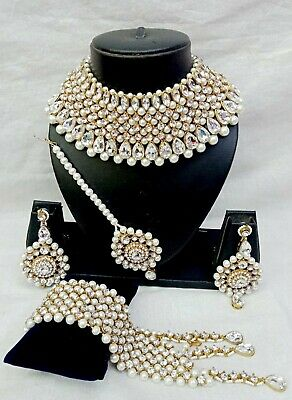 $27.29 • Buy Indian Bridal White Stone Kundan Pearl Necklace Earring Bollywood Jewelry Set