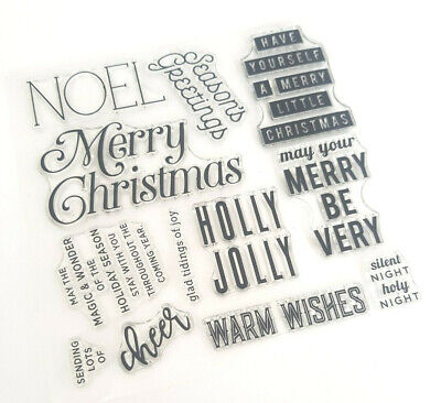 12 Christmas Words Clear Stamps-xmas Greetings/sentiments Transparent Noel-uk • 5.25£