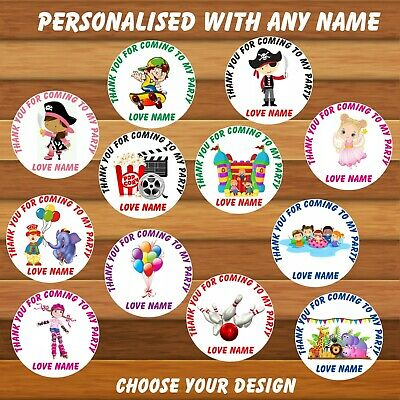 48 Personalised Birthday Party Thank You Stickers, Bags, Sweet Cones, Childrens • 2.99£