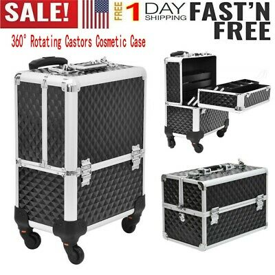 $61.99 • Buy 3in1 Aluminum Rolling Makeup Train Case Professional Beauty Cosmetic Trolley US