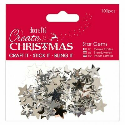 100 X Silver Star Rhinestone Gems - Christmas Craft Card Embellishments 15mm  • 3.99£
