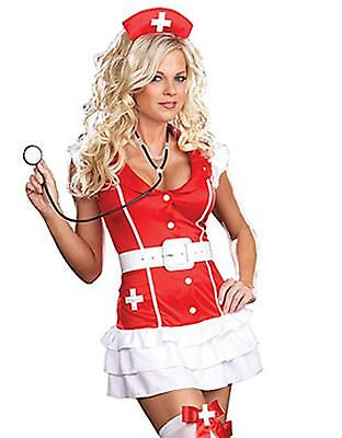 RED Halloween SEXY NURSE NAUGHTY COMPLETE OUTFIT COSTUME FANCY DRESS FETISH HEN • 8.49£