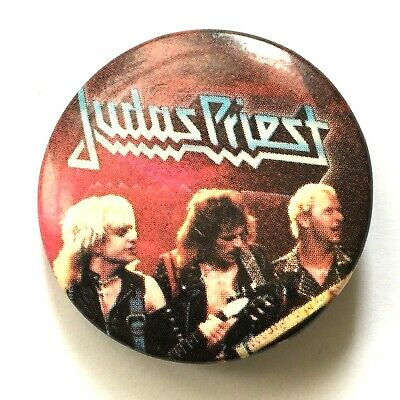 £4.99 • Buy JUDAS PRIEST - Old OG Vtg Early 1980`s Button Pin Badge 32mm Official Promo Tour