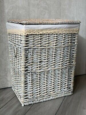 Large Grey Wicker Laundry Basket Storage Box With Washable Lining, Handles & Lid • 39.99£