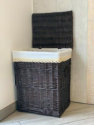 Large Dark Chestnut Brown Wicker Laundry Basket Storage Box Lining Lid Handles • 39.99£