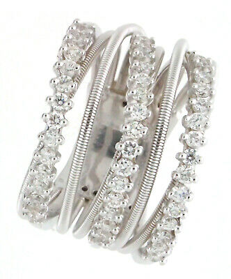 $1365 • Buy 18K White Solid Gold Round Diamonds Band Spring Ring FG VS 0.65 Ct Size 5.5