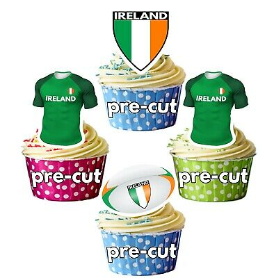 £5.49 • Buy PRECUT Rugby Cupcake Toppers Cake Decorations - Ireland