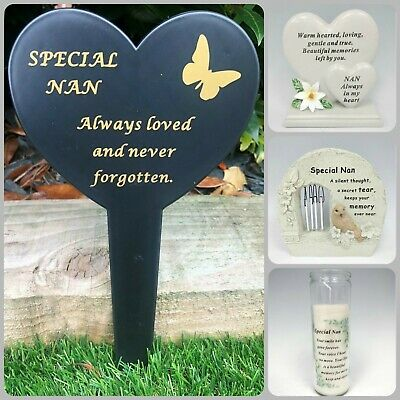 Nan Memorial Heart Plaque Frame Stick Stake Flower Vase Grave Candle Remembrance • 1.95£