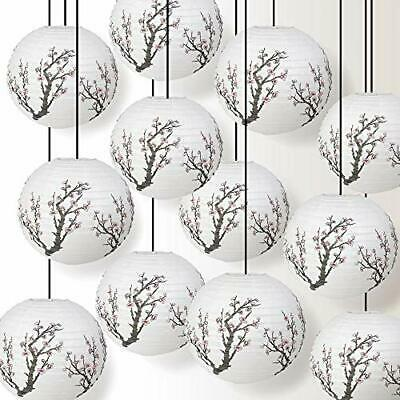 5 PACK   16  Bamboo Pattern Paper Lantern, Hanging Party Decoration Combo Set • 11.05£