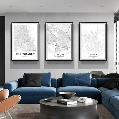 £34.25 • Buy 3 Piece Canvas Prints - Black And White City Map Wall Art Home Decor (UNFRAMED)