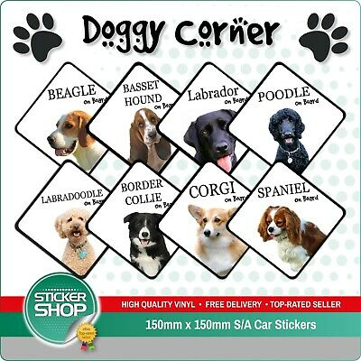 £3.39 • Buy Dog On Board Car Sticker / Suction Cup Sign Various Breeds Available
