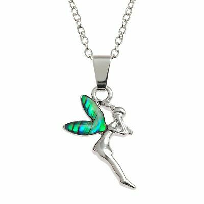 £9.95 • Buy Fairy Necklace Abalone Shell Tinkerbell Pendant Silver Jewellery Gift Boxed