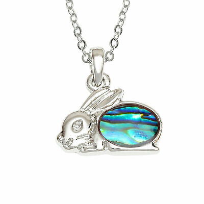 £12.99 • Buy Rabbit Necklace Paua Abalone Shell Bunny Pendant Silver Jewellery Gift Boxed