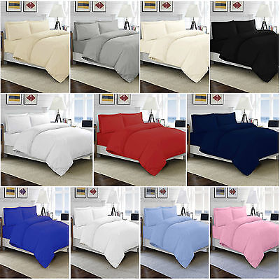 100% Egyptian Cotton Duvet Quilt Cover Set Single Double King Size Bed Sheets • 14.95£
