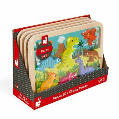 Janod Dinosaurs Chunky Wooden Puzzle 18-36m • 16.69£