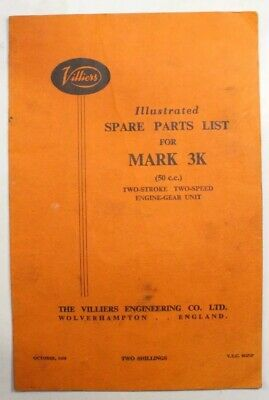Vintage Villiers Mk 3K 50cc Two Stroke Engine Spare Parts List • 8.99£