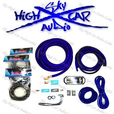 $127.99 • Buy Sky High Car Audio Blue 1/0 AWG OFC To Dual 4 Gauge OFC Complete Amp Kit Split