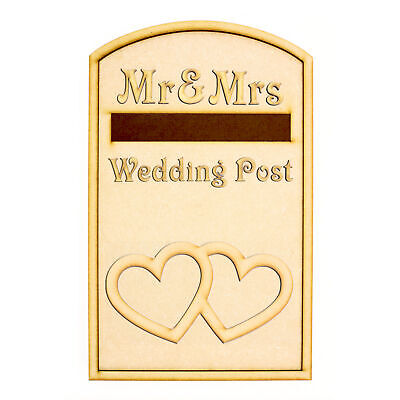 £8.95 • Buy Wedding Post Box Heart Design - Opening Wooden 3mm MDF Party - Flat Pack