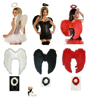 Adult Angel Devil Fairy Feather Wings Halo Fancy Dress Office Hen ChristmasParty • 11.99£